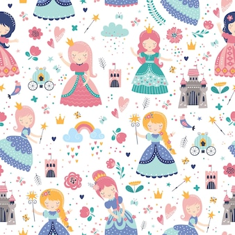 Childish seamless pattern with princess, castle, carriage in scandinavian style.