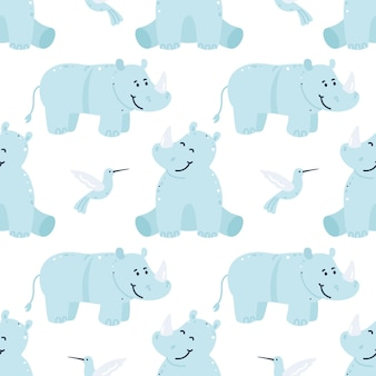 코뿔소와 벌새 유치 원활한 패턴