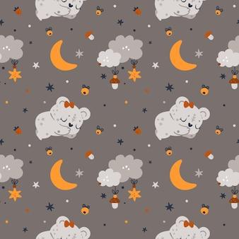 生まれたばかりの女の子や男の子のためのテディベア、月と星の幼稚なシームレスパターン