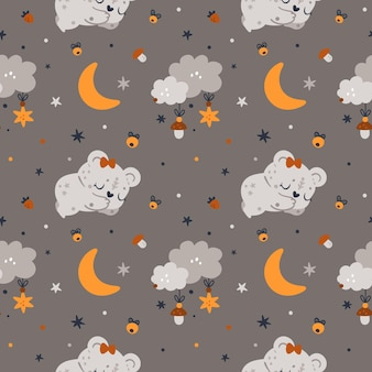 Childish seamless pattern with teddy bear, moons and stars for newborn girl or boy