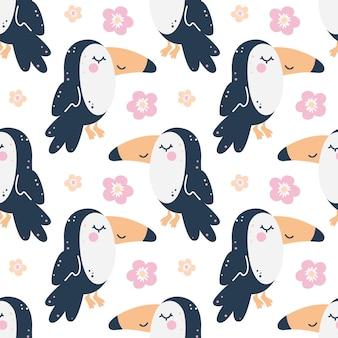 큰 부리 새와 유치 한 완벽 한 패턴