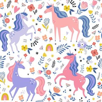 Childish seamless pattern with unicorns creative nursery background perfect for kids design