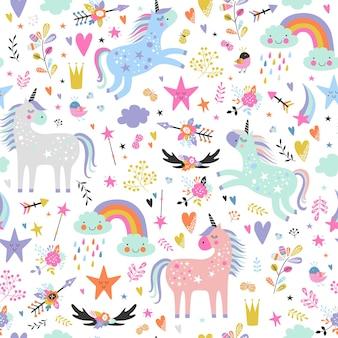 Childish seamless pattern with unicorns.