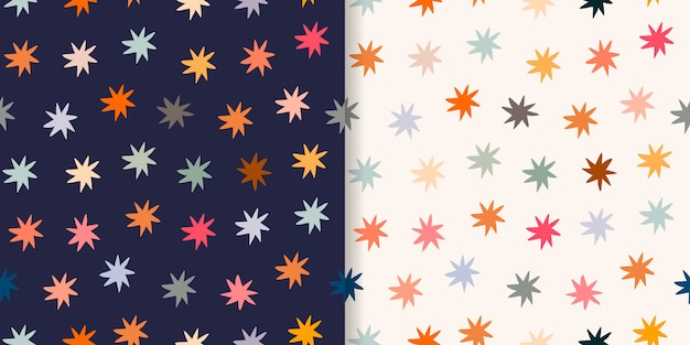 Childish seamless patterns/backgrounds/wallpapers set with colorful stars