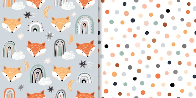 Childish seamless patterns set with foxes