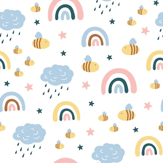 Childish seamless seamless pattern with cute clouds, rainbows, insects, bee in scandinavian style