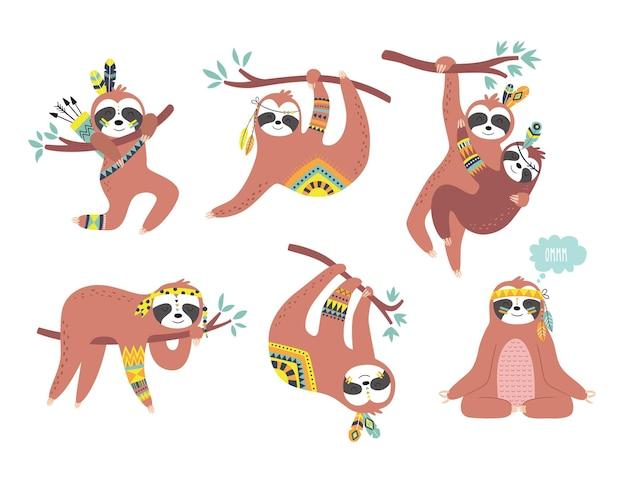 かわいいナマケモノの幼稚なセット テキスタイル壁紙アパレルを包む生地の理想的な子供たちのデザイン