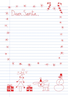 Childish style  letter to santa claus template with hand drawn doodles