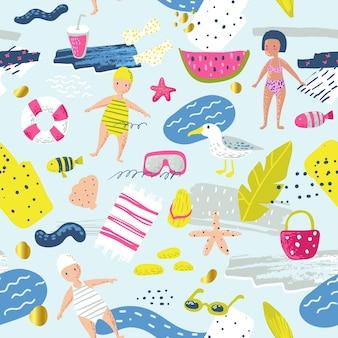 Детский летний пляжный отдых бесшовный фон