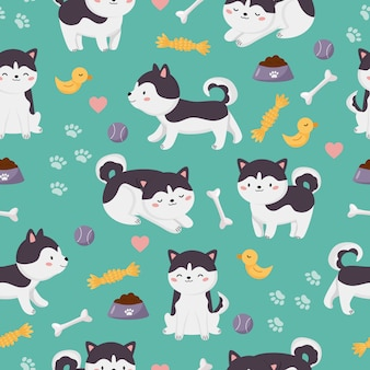 Childish vector seamless pattern. kawaii cartoon siberian husky dogs with toys.