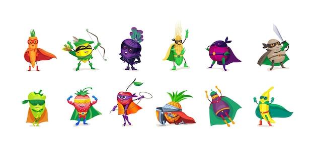 Набор детских овощных фруктов и ягод супергероев. гуманизированный забавный человек в масках и накидках в плащах. комикс фэнтези мощные съедобные растения с суперсилой в костюме плоский вектор