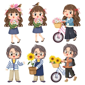 Childrem set of 6 girls also a bicycle and flowers, smiling and happy girls spring concept.