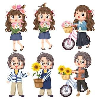 Детский набор из 6 девочек, а также велосипед и цветы, улыбающиеся и счастливые девушки, весенняя концепция.