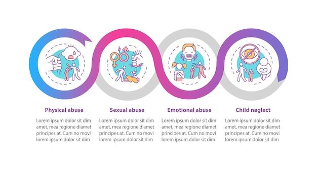子供たちは自宅で虐待インフォグラフィックテンプレート。子供の安全プレゼンテーションのデザイン要素。ステップによるデータの視覚化。タイムラインチャートを処理します。線形アイコンのワークフローレイアウト