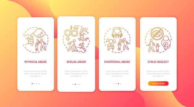 개념이있는 빨간색 온 보딩 모바일 앱 페이지 화면을 학대하는 어린이