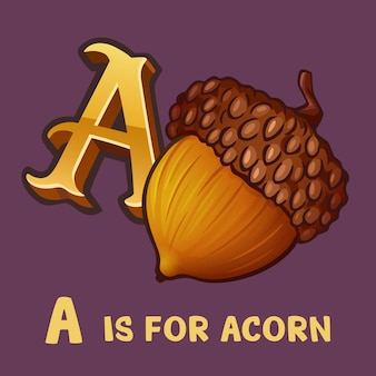 Children alphabet letter a and acorn