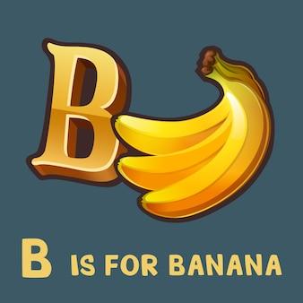 Children alphabet letter b and banana