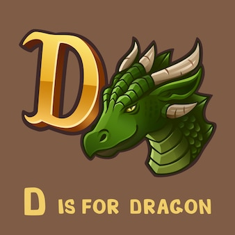 Children alphabet letter d and dragon