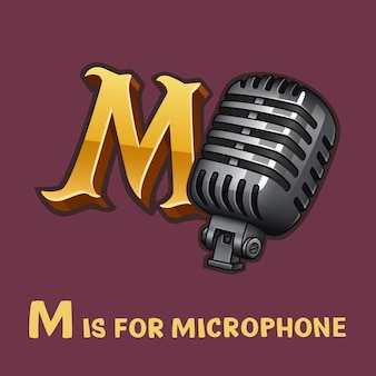 Children alphabet letter m and microphone