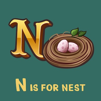 Children alphabet letter n and nest