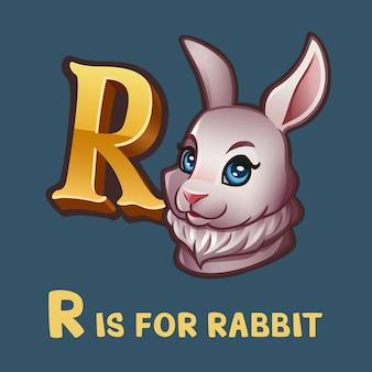 Children alphabet letter r and rabbit