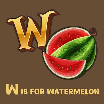 Children alphabet letter w and watermelon