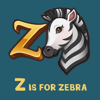 Children alphabet letter z and zebra