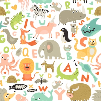 Children alphabet seamless pattern