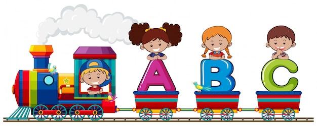 Children on alphabet train