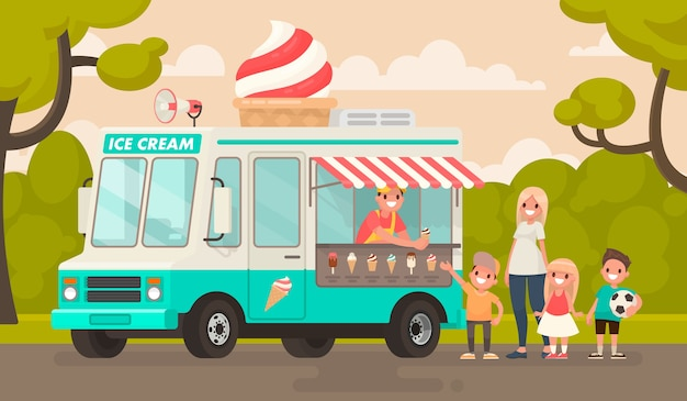 아이들과 공원에서 아이스크림 트럭