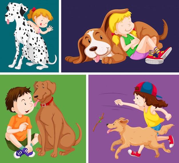 어린이와 귀여운 강아지