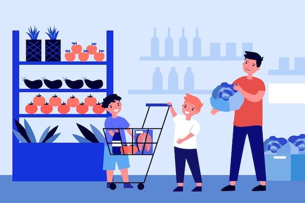 슈퍼마켓에서 건강 식품을 사는 아이들과 아빠. 신선한 과일, 야채, 유기농 제품. 플랫 벡터 일러스트 레이션
