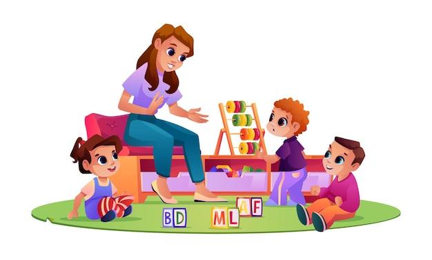 놀이터에서 놀고 공부하는 어린이와 유치원 교사 교육자의 말을 듣는 아이들