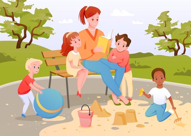 Дети и учитель вместе читают книгу векторная иллюстрация мультфильм мальчик девочка ребенок играет в песочнице