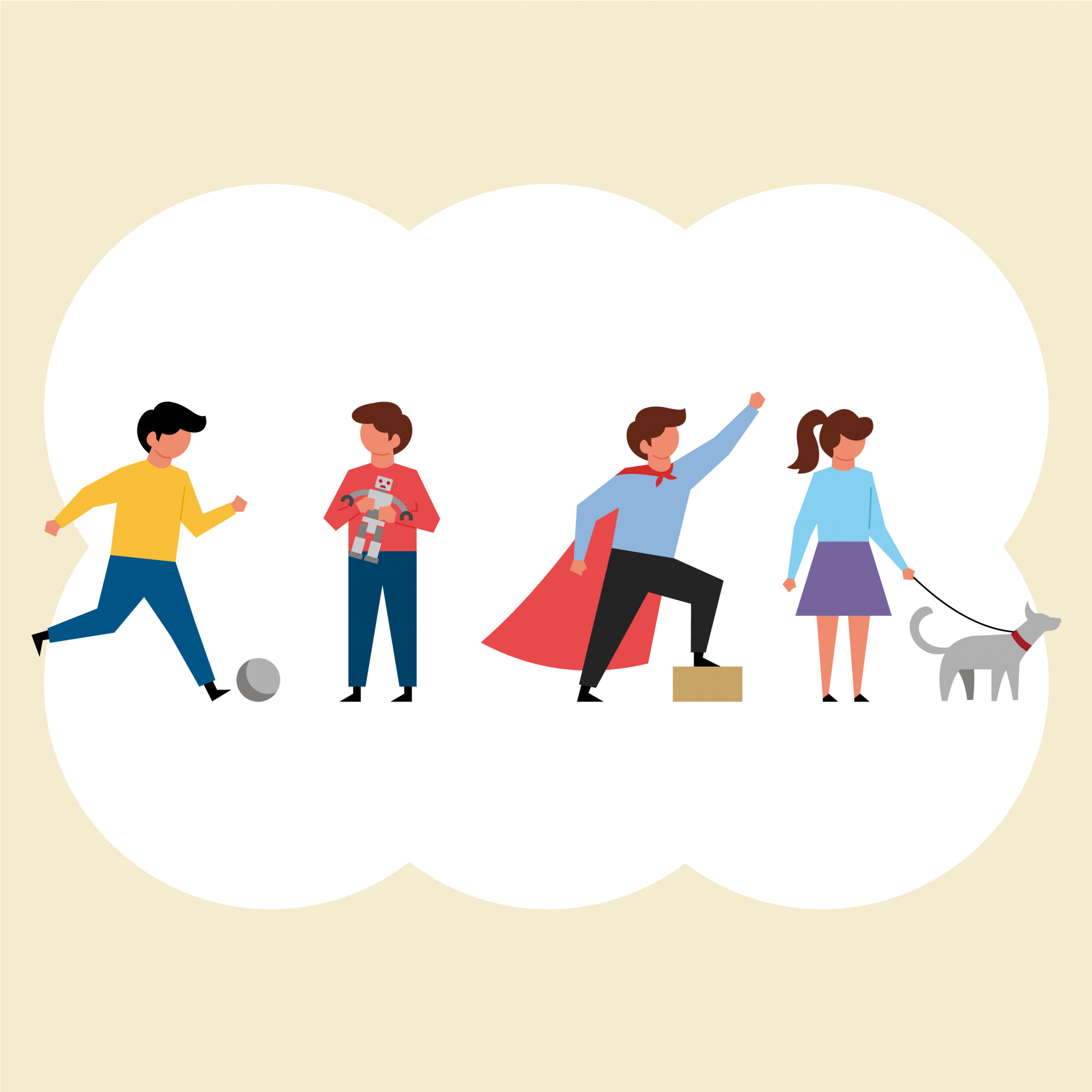 Children and Their Activities Characters Pack in Flat Design