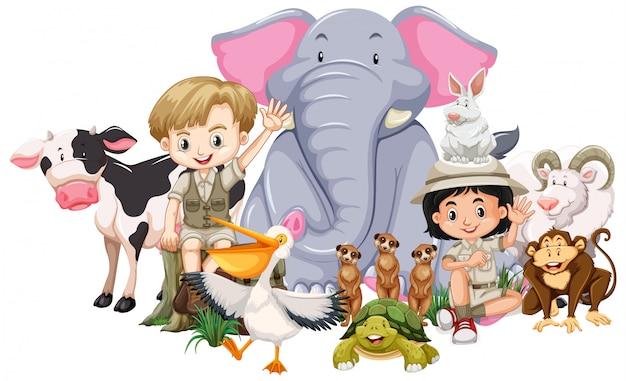 子供と野生動物