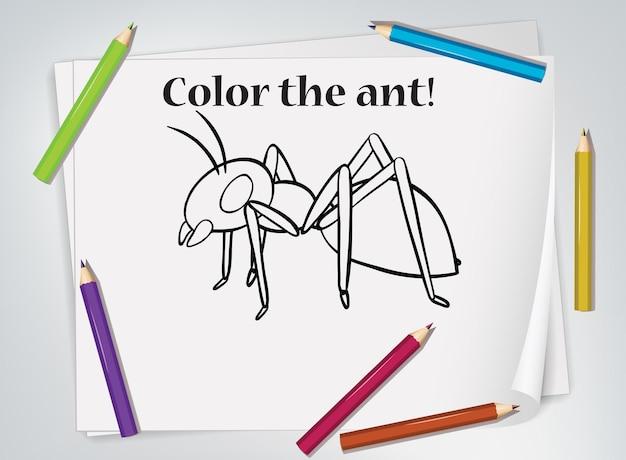 Foglio di lavoro da colorare formica per bambini