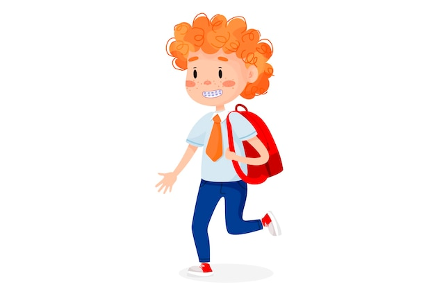 Children are going to school. back to school illustration.  kids education illustration on white isolated background.
