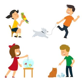 子供たちは世話をし、訓練され、ペットと遊ぶ。