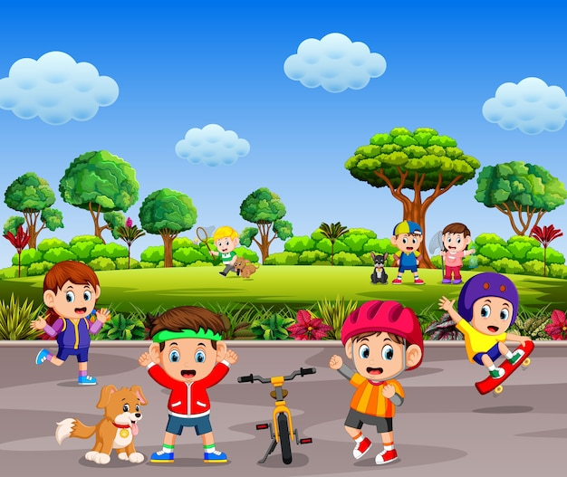 Children are playing and doing sport together in the road