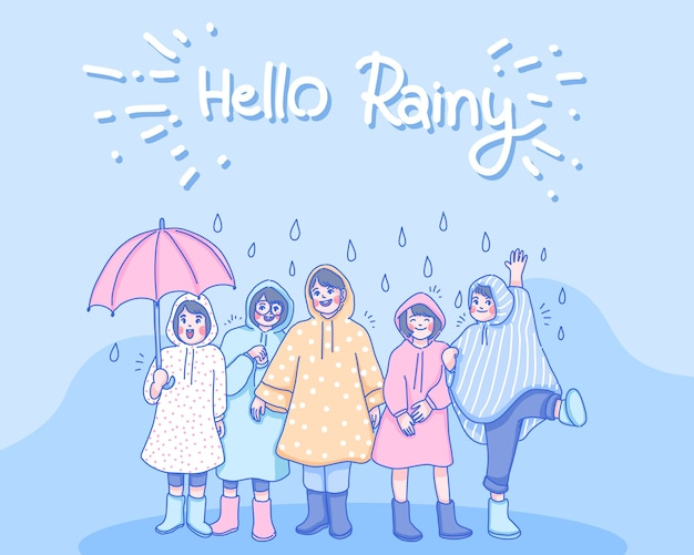 Children are playing together on the rain. cartoon character illustration.