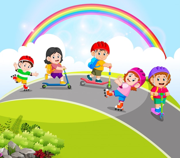 The children are playing with the scooter and roller skates in the road