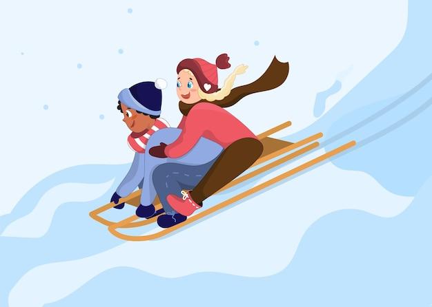 子供たちは丘をそり滑ります。漫画のスタイルで幸せな子供たちのキャラクター。雪の降る天気、冬の娯楽、野外活動の概念