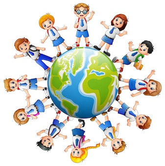 Children around the earth isolated on white background