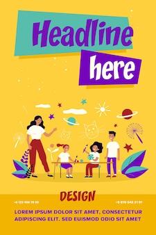 子供の美術学校。教師、学生、パレットと絵筆フラットベクトルイラストを使用して子供たち