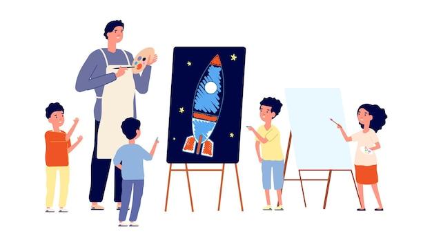 Детская изостудия. детский рисунок, художник обучает рисованию мальчиков и девочек. детский сад или школьный урок векторные иллюстрации. рисование, обучение детей рисованию