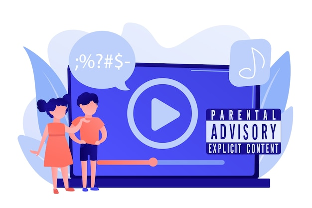 ペアレンタルアドバイザリーラベルの警告付きで音楽を聴いているラップトップの子供たち。ペアレンタルアドバイザリー、露骨な内容、子供向け警告ラベルのコンセプト