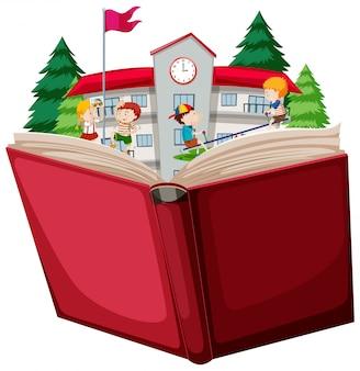 학교에서 아이들은 책을 엽니 다