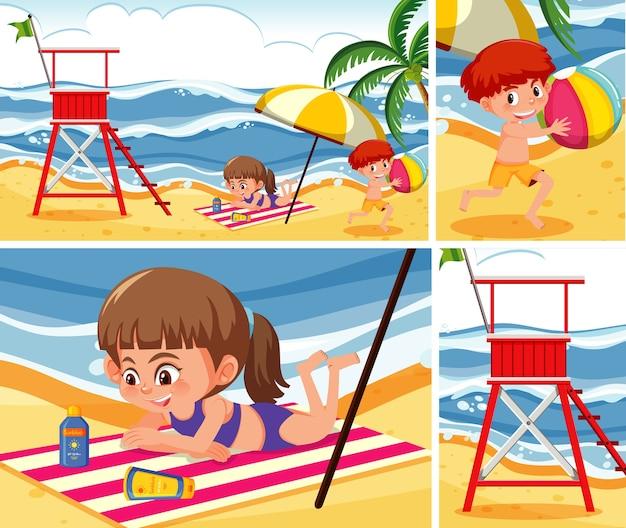 ビーチの背景セットの子供たち