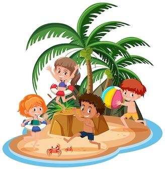 고립 된 섬에서 어린이